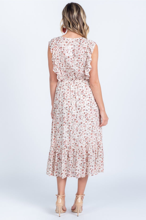FALL FOR YOU FLORAL RUFFLE MIDI DRESS