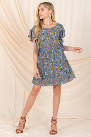 VINTAGE BEAUTY FLORAL RUFFLE SLEEVE MINI DRESS