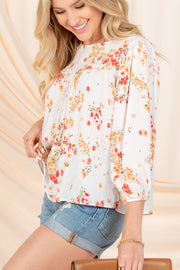 LOVE SIMPLY BLUE-IVORY FLORAL TOP