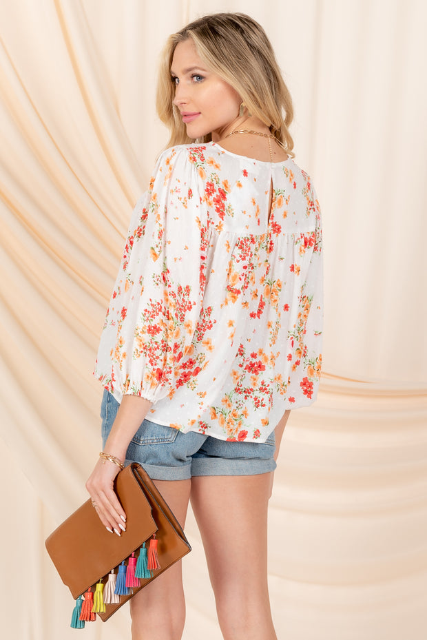 LOVE SIMPLY CORAL-IVORY FLORAL TOP