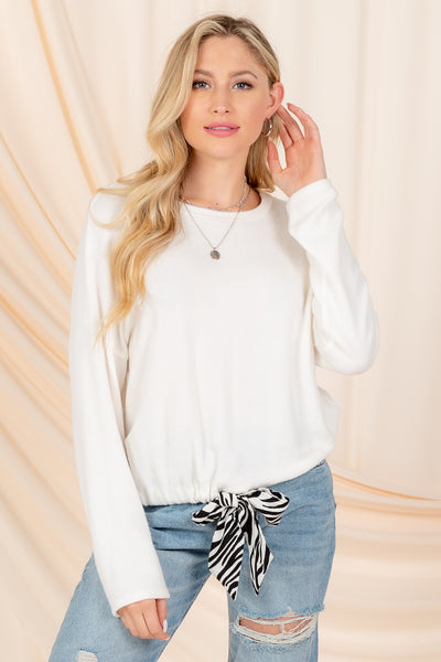 KEEP DREAMING DRAWSTRING SWEATER TOP