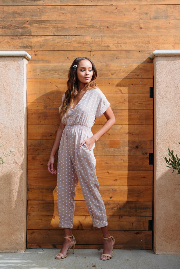 BE MINE TAUPE POLKA DOT JUMPSUIT