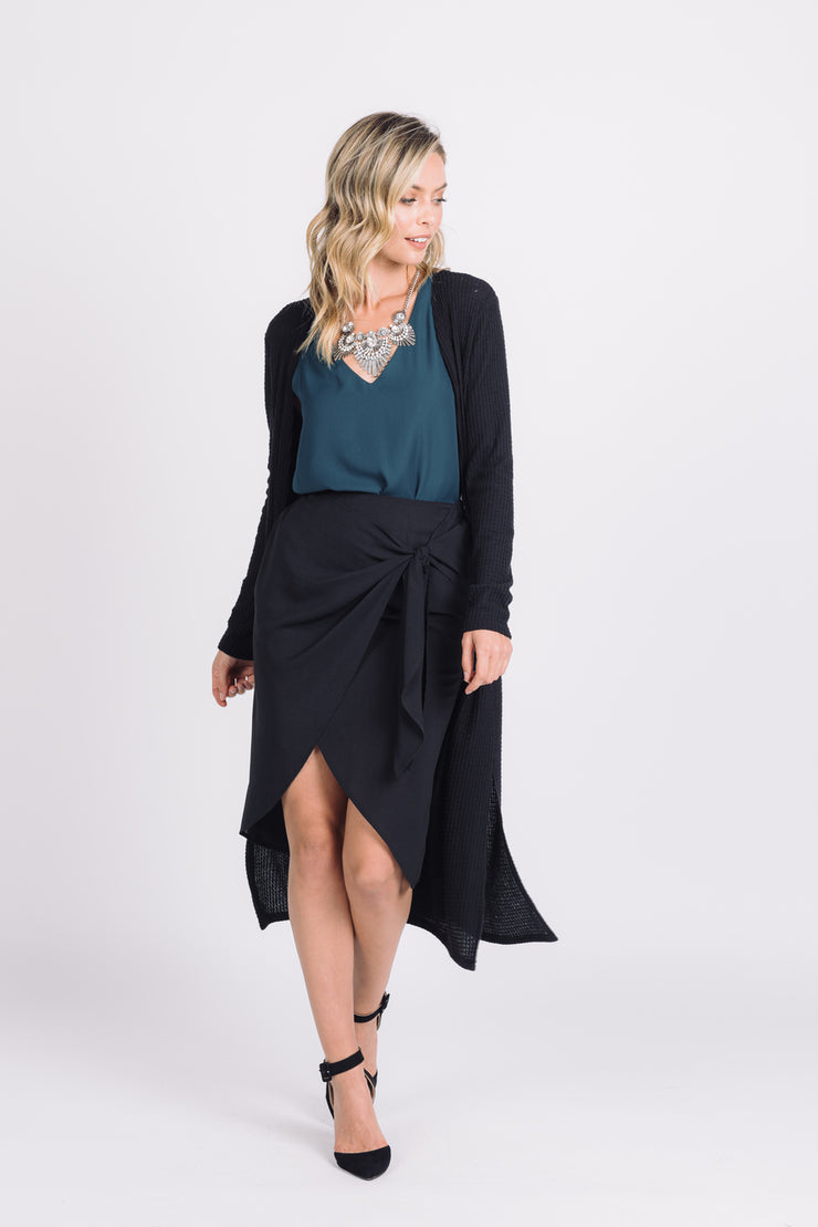 WANDERLUST BLACK SIDE TIE ASYMMETRICAL MIDI SKIRT