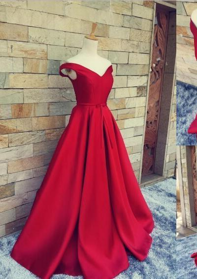 2020 Off the Shoulder Sweetheart A-line Satin Prom Dresses