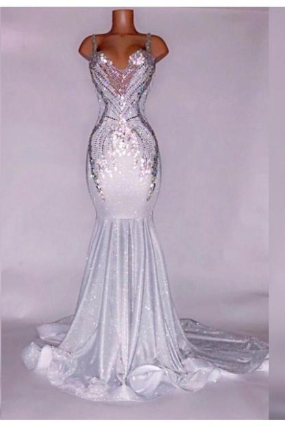 Alluring Silver Satin Beaded Mermaid Prom Dresses