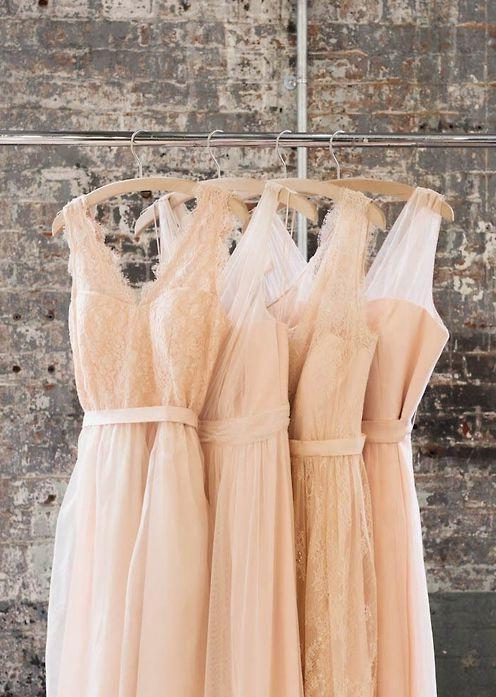 2021 New Arrival Blush Pink Long Tulle Cheap Bridesmaid Dresses / Gowns