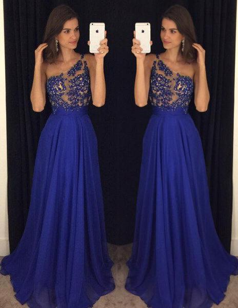LadyPromDress 2020 Blue One Shoulder Floor-Length/Long A-Line/Princess Chiffon Prom Dresses