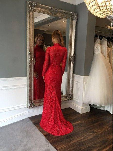 2020 Gorgeous Red High Neck Long Sleeve Column/Sheath Lace Prom Dresses