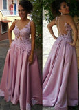 Delicate Appliques Sleeveless A-Line/Princess Satin 2020 Glamorous Pink Prom Dresses
