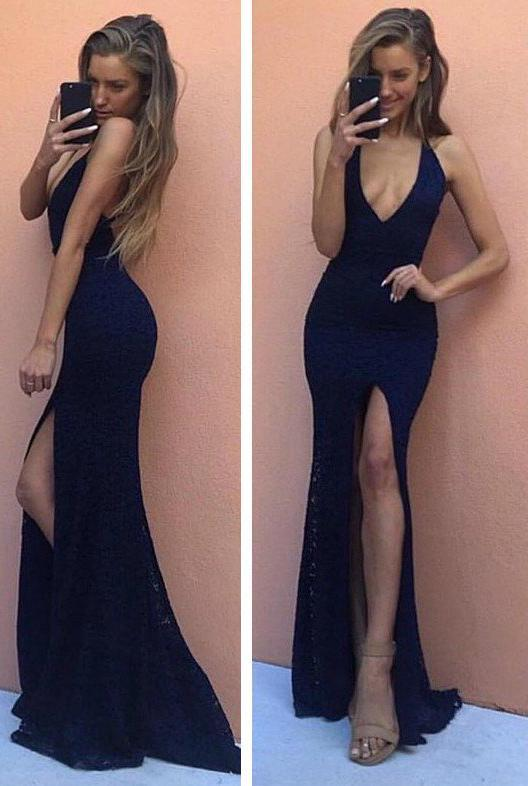 Dark Navy Front-Slit Deep V-Neck Column/Sheath Stretch Satin Prom Dresses