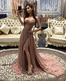 2020 Siren Princess/A-Line Dusty Rose Sweetheart Side Slit Prom Dresses