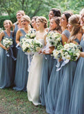 2020 Cheap A Line Tulle Halter Floor Length Bridesmaid Dresses / Gowns