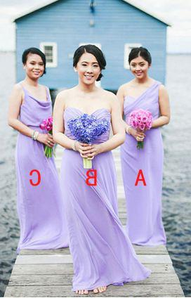 2020 Cheap A Line Lilac Chiffon Floor Length Bridesmaid Dresses / Gowns