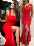 2020 Gorgeous Red Prom Dresses Straps Front-Slit Stretch Satin