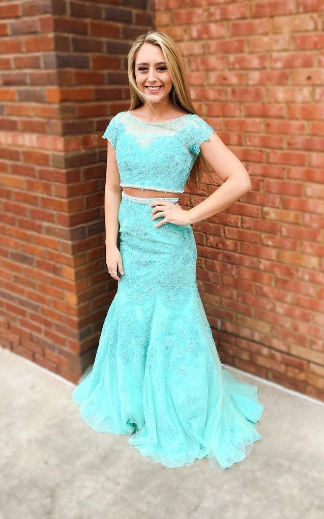 LadyPromDress 2020 Blue Short Sleeves Mermaid/Trumpet Lace Two Pieces Prom Dresses