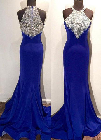 Royal Blue Crystal Mermaid/Trumpet Stretch Satin Prom Dresses