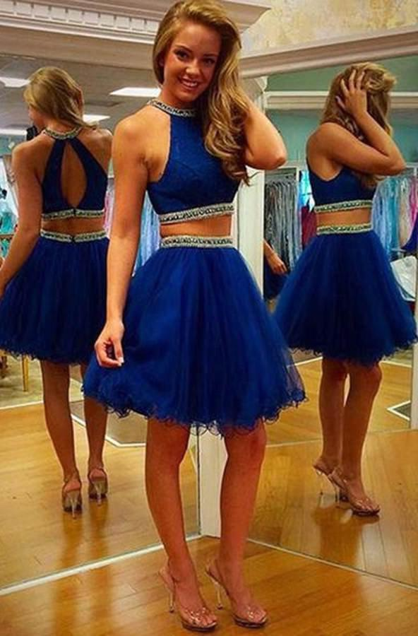 LadyPromDress 2020 Blue Elegant Beading Halter Tulle Two Pieces Prom Dresses