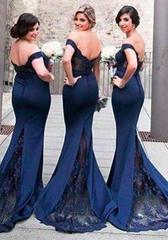 2020 New Arrival Mermaid Dark Navy Satin Lace Off The Shoulder Long Bridesmaid Dresses / Gowns