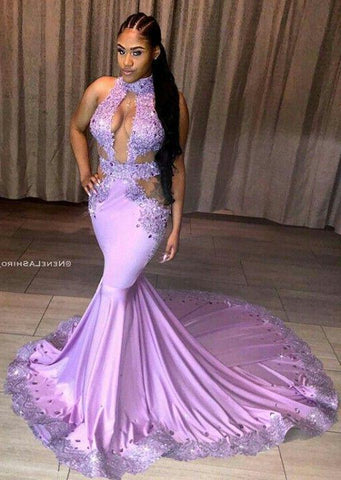 Sexy Mermaid Lilac Long Train Backless Prom Dresses With Appliques