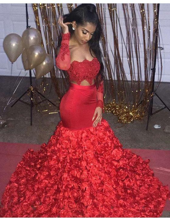 Charming Mermaid Red Long Sleeves Rose Pleated Elastic Satin Prom Dresses