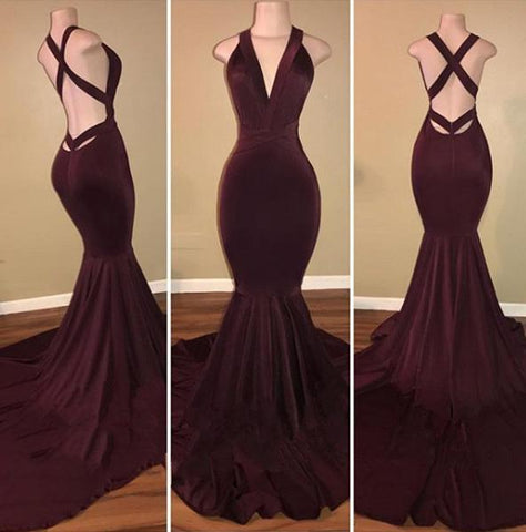 Sexy Grape Mermaid Back Criss Cross Halter Velvet Long African Ladies Prom Dresses