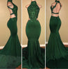 Sexy High Neck Green Backless Mermaid Elastic Satin Appliques Long African Prom Dresses