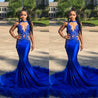 New Arrival Mermaid See Through Royal Blue With Feathers African Long Prom Dresses