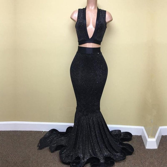 Sexy Mermaid Black V Neck Two Pieces Sequence Long Prom Dresses