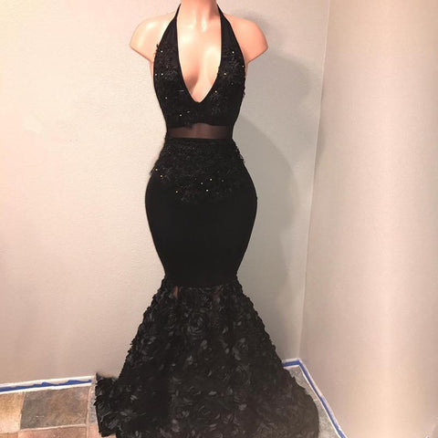 Sexy Black Mermaid Deep V Neck High Waist African Backless Prom Dresses