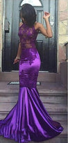 Sexy Purple Sheath High Neck See Through Elastic Satin African Prom Dresses