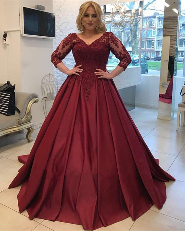 Cheap Burgundy Long Sleeves V Neck Lace Up Back Ball Gown Satin Prom Dresses