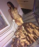 Sexy Tiered Gold Mermaid Tiered Backless African American Black Long Prom Dresses
