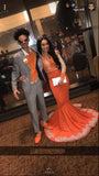 Orange Mermaid See Through Long Sleeves With Appliques Black Prom Dresses