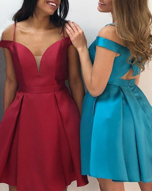 Short A Line Simple Sweetheart Spaghetti Straps Satin Knee Length Bowknot Back Prom Dresses