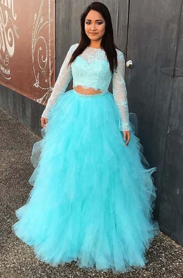 New Arrival Long Sleeves Lace Two Pieces Tulle Pleated Ball Gown Blue Prom Dresses 2020