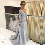 New Arrival Sheath V Neck Long Sleeves Tulle Long Light Sky Blue Prom Dresses With Appliques