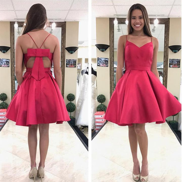 Cute A Line Knee Length Bowknot Back Satin Short Sweetheart Prom Dresses