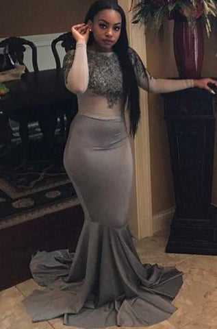 Mermaid Gray African American Long Sleeves See Through Long Black Prom Dresses