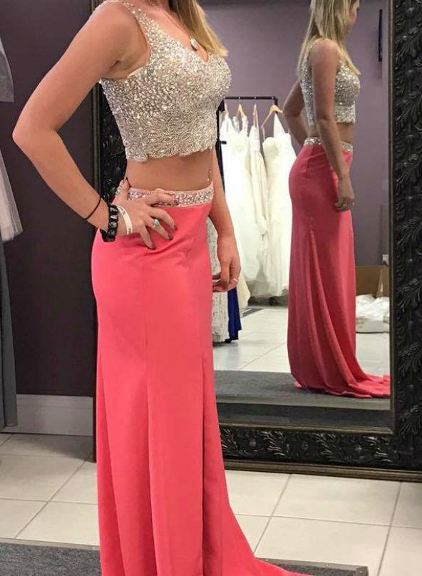 New Arrival Water Melon Two Pieces V Neck Sheath Prom Dresses