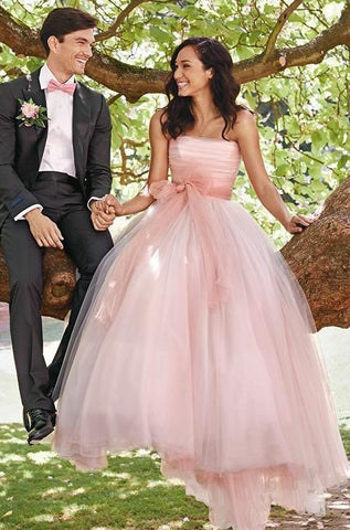 2020 Cute Tulle A Line Strapless Pink Wedding Dresses With Bowknot Belt