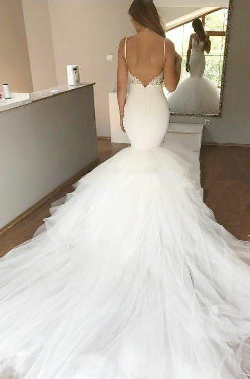 2020 Charming Mermaid Sweetheart Spaghetti Straps Long Backless Tulle Wedding Dresses