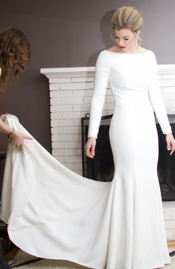 2021 Amazing Sheath Satin Ivory Crew Neck Long Sleeves Beaded Long Wedding Dresses