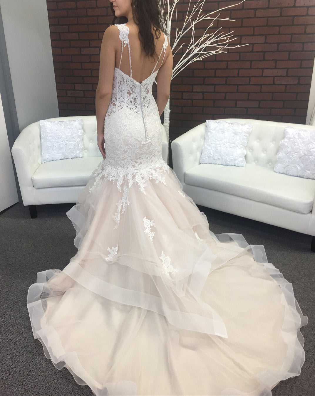 Sexy Mermaid Tulle Sweetheart Lace Layered Champagne Wedding Dresses 2020