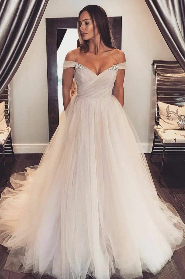 2020 Newly A Line Tulle Off Shoulder Sweetheart Wedding Dresses