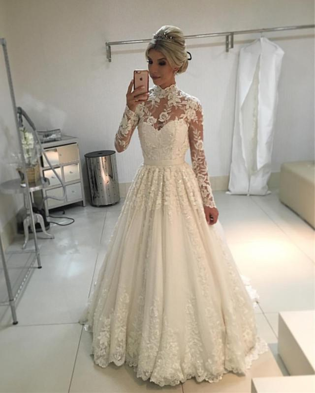 Classic A Line High Neck Lace Long Sleeves Ivory Sweetheart Wedding Dresses