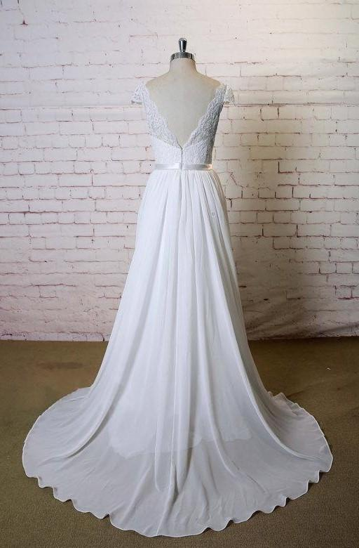 2020 Cheap A Line Chiffon Sweetheart Capped Sleeves Lace Beach Wedding Dresses