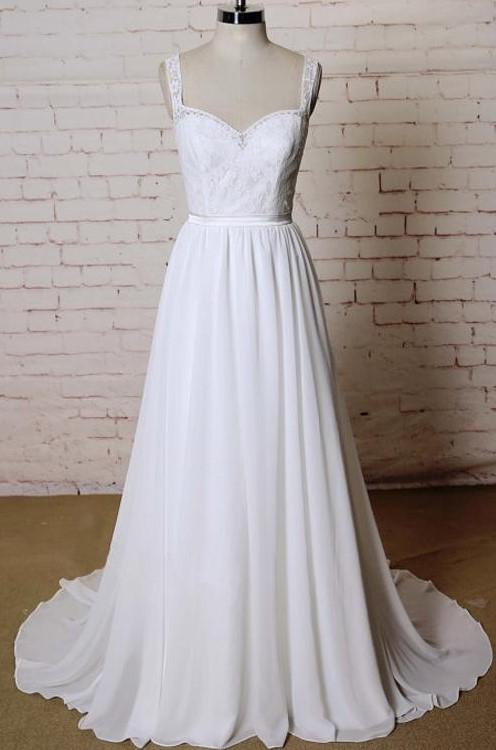 New Arrival Chiffon A Line Sweetheart Lace Backless 2020 Beach Wedding Dresses