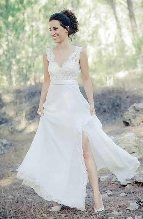 Classic A Line Side Slit Lace Sweetheart Floor Length Outdoor Wedding Dresses 2020