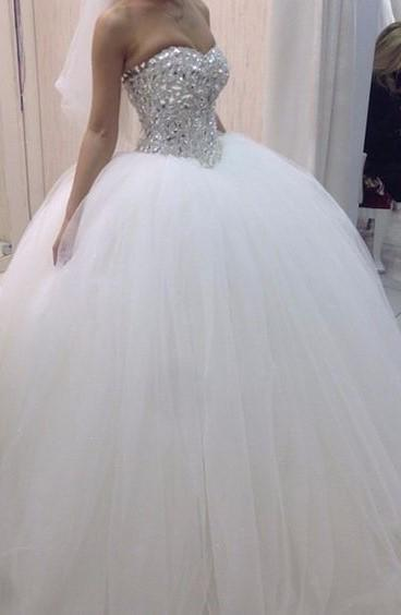 2020 Luxury Sweetheart Satin Long Ball Gown Wedding Dresses With Diamonds