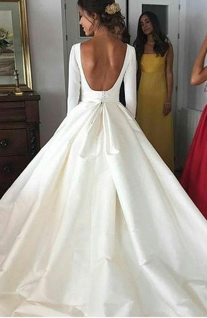 Classic A Line Long Sleeves Backless Satin Long Wedding Dresses 2020